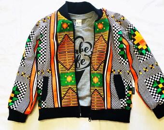 Toddler Bomber jacket Kente African Kids jacket Ankara Bomber jacket