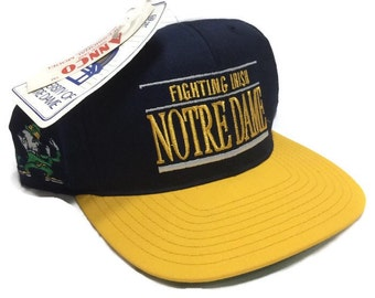 Vintage Notre Dame Fighting Irish Snapback Hat Cap 90s Deadstock New with Tags