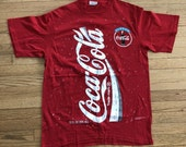 Vintage Coca Cola Coke Shirt Size XL 90s Red Soda Pop Can Double Sided 1994