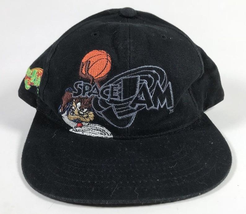 best website 97a38 52bda Space Jam Vintage Snapback Hat Cap Youth Size Taz Jordan 1996   Etsy