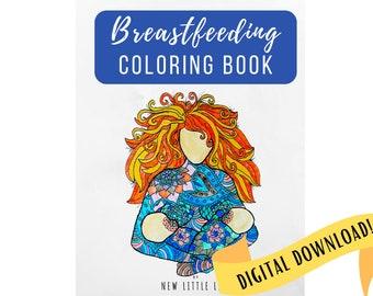 Breastfeeding & Postpartum Coloring Book - DIGITAL DOWNLOAD - Adult coloring, Breastfeeding, Mandala, Coloring book, Postpartum Coloring
