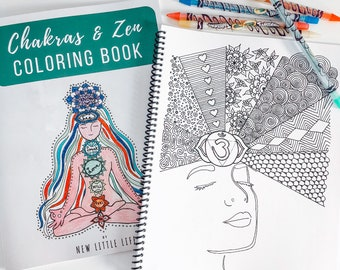 Chakras & Zen Coloring Book - Chakra coloring, Adult coloring, Chakras, Mandala, Coloring book, Healing, Relax, Mom Life coloring Book