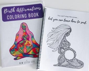 Birth Affirmation Coloring Book - DIY Birth Affirmations, Adult coloring, Birth affirmations, Mandala, Coloring book, Pregnancy Coloring