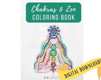 Chakras & Zen Coloring Book DIGITAL DOWNLOAD- Chakra coloring, Adult coloring, Chakras, Mandala, Coloring book, Healing, Relax, Zentangle,