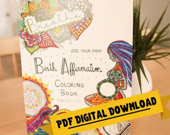 Pregnancy Coloring Book - DIGITAL DOWNLOAD - Adult coloring, Birth affirmations, Mandala, Coloring book, Pregnancy Coloring