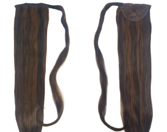 "Human Hair Ponytail Extension Wrap 20"" 80 Grams Remy Premium Grade AAAAA 100% Real Straight Hair Silk (Dark Brown/Medium Golden Brown P#2/3)"