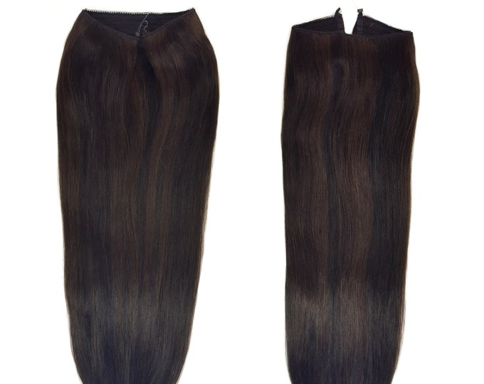 """Fits like a Halo Hair Extensions 20"""" Natural Black/Dark Brown Mix (#1B/2) - Human No Clip In Flip In Couture by Knockout Hair"""
