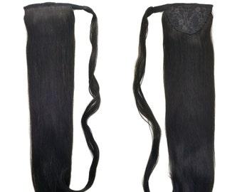 "Human Hair Ponytail Extension Wrap 20"" 80 Grams Remy Premium Grade AAAAA 100% Real Straight Hair Silky Soft (Natural Black #1B)"