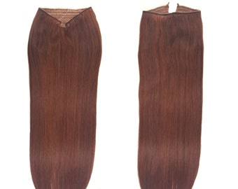 """Fits like a Halo Hair Extensions 20"""" Dark Auburn (P#33/#34) - Human No Clip In Flip In Couture by Knockout Hair"""