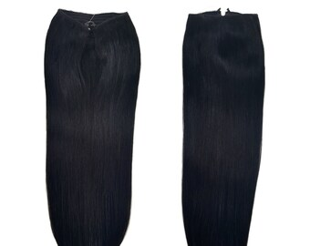 """Fits like a Halo Hair Extensions 20"""" Jet Black (#1) - Human No Clip In Flip In Couture by Knockout Hair"""