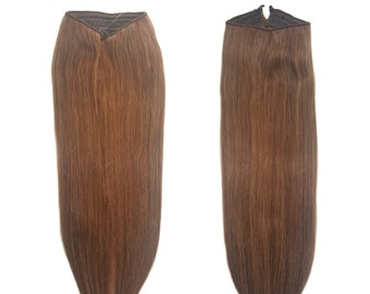 """Fits like a Halo Hair Extensions 20"""" Light Natural Brown (#7A) - Human No Clip In Flip In Couture by Knockout Hair"""