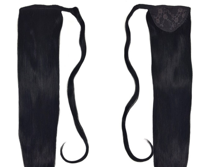 """Human Hair Ponytail Extension Wrap 20"""" 80 Grams Remy Premium Grade AAAAA 100% Real Straight Hair Silky Soft (Jet Black #1)"""
