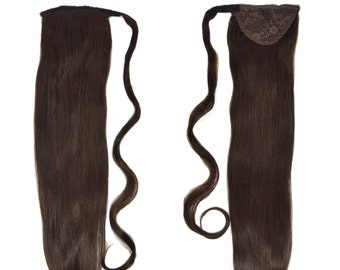 "Human Hair Ponytail Extension Wrap 20"" 80 Grams Remy Premium Grade AAAAA 100% Real Straight Hair Silky Soft (Dark Brown #2)"