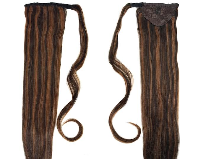 "Human Hair Ponytail Extension Wrap 20"" 80 Grams Remy Premium Grade AAAAA 100% Real Straight Hair Silk (Dark Brown/Light Warm Brown P#2/6)"