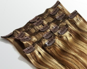 """Clip In Human Hair Extensions 18"""" - 120 Grams Full Head Remy Premium Grade AAAAA Double Wefted (Light Natural Brown/Dark Blonde P#7A/7B)"""