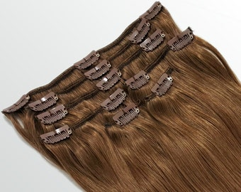"""Clip In Human Hair Extensions 18"""" - 120 Grams Full Head Remy Premium Grade AAAAA Double Wefted (Light Natural Brown #7A)"""