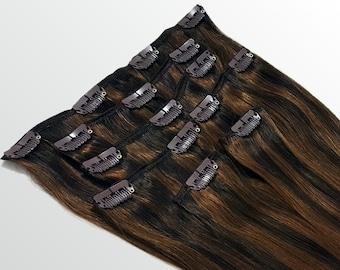 "Clip In Human Hair Extensions 18"" - 120 Grams Full Head Remy Premium Grade AAAAA Double Wefted (Dark Brown/Medium Golden Brown P#2/3)"