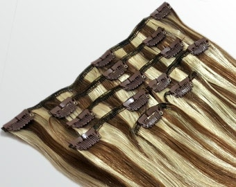 """Clip In Human Hair Extensions 18"""" - 120 Grams Full Head Remy Premium Grade AAAAA Double Wefted (Light Natural Brown/Ash Blonde P#7A/24)"""