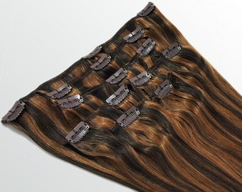 """Clip In Human Hair Extensions 18"""" - 120 Grams Full Head Remy Premium Grade AAAAA Double Wefted (Dark Brown/Light Warm Brown P#2/6)"""
