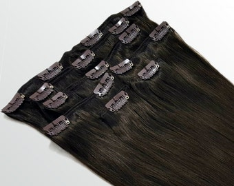 """Clip In Human Hair Extensions 18"""" - 120 Grams Full Head Remy Premium Grade AAAAA Double Wefted (Dark Brown #2)"""