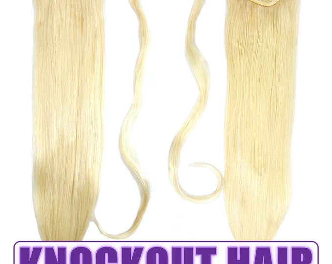"Human Hair Ponytail Extension Wrap 20"" 80 Grams Remy Premium Grade AAAAA 100% Real Straight Hair Silky Soft (Lightest Blonde #60)"