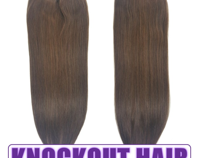"Fits like a Halo Hair Extensions 20"" Medium Ash Brown (#5A) - Human No Clip In Flip In Couture by Knockout Hair"