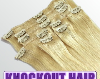 "Clip In Human Hair Extensions 18"" - 120 Grams Full Head Remy Premium Grade AAAAA Double Wefted (Light Blonde #613)"