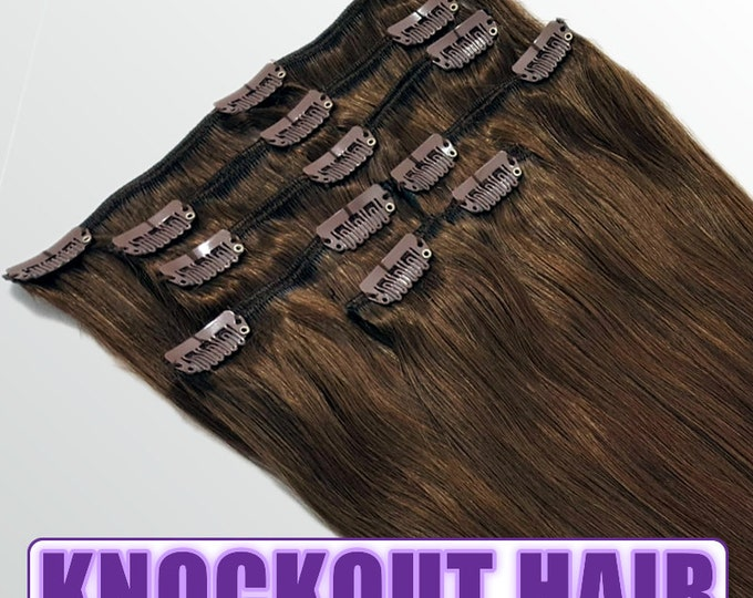 """Clip In Human Hair Extensions 18"""" - 120 Grams Full Head Remy Premium Grade AAAAA Double Wefted (Medium Golden Brown #3)"""