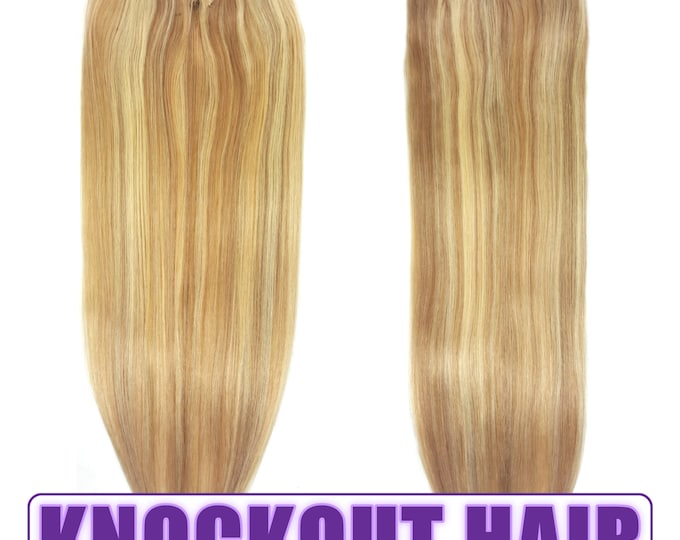 "Fits like a Halo Hair Extensions 20"" Dark Blonde/Light Blonde (P#7B/#613) - Human No Clip In Flip In Couture by Knockout Hair"