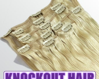 "Clip In Human Hair Extensions 18"" - 120 Grams Full Head Remy Premium Grade AAAAA Double Wefted (Golden Ash Blonde #24)"