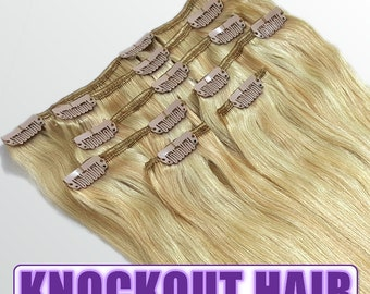 "Clip In Human Hair Extensions 18"" - 120 Grams Full Head Remy Premium Grade AAAAA Double Wefted (Medium Golden Blonde/Ash Blonde P#20/24)"