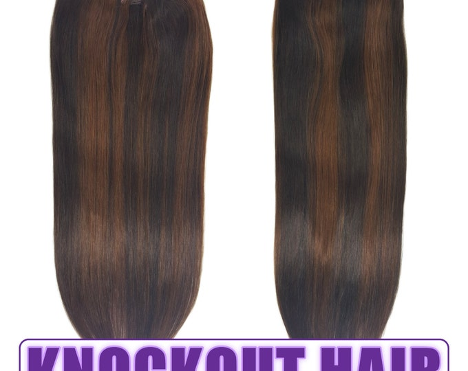 """Fits like a Halo Hair Extensions 20"""" Dark Brown/Medium Golden Brown Mix (#2/3) - Human No Clip In Flip In Couture by Knockout Hair"""