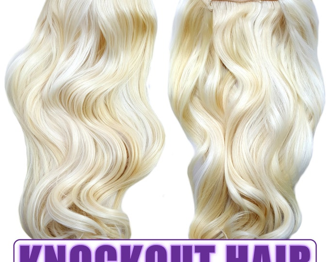 "Fits like a Halo Hair Extensions 20"" - 150 Grams 100% Premium Fiber Wavy Hair (Lightest Blonde/Platinum Blonde Mix - #613/1001S)"