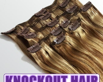 "Clip In Human Hair Extensions 18"" - 120 Grams Full Head Remy Premium Grade AAAAA Double Wefted (Light Natural Brown/Dark Blonde P#7A/7B)"