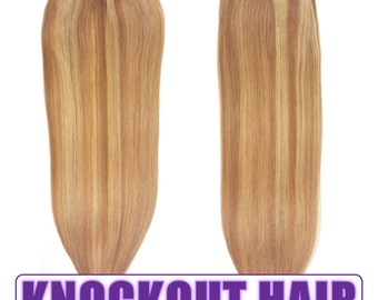 "Fits like a Halo Hair Extensions 20"" Dark Golden Blonde/Medium Golden Blonde (P#12/#20) - Human No Clip In Flip In Couture by Knockout Hair"