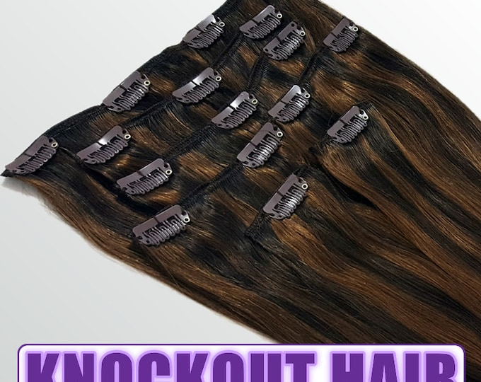 "Clip In Human Hair Extensions 18"" - 120 Grams Full Head Remy Premium Grade AAAAA Double Wefted (Dark Brown/Medium Golden Brown P#2/3)"