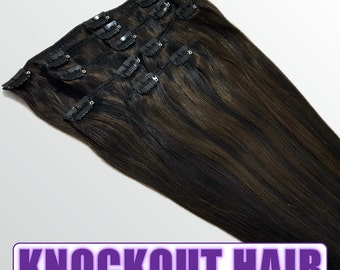 "Clip In Human Hair Extensions 18"" - 120 Grams Full Head Remy Premium Grade AAAAA Double Wefted (Natural Black/Dark Brown P#1B/2)"