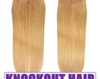 "Halo Hair Extensions 20"" Medium Golden Blonde (#20) - Human No Clip In Flip In Couture by Knockout Hair"