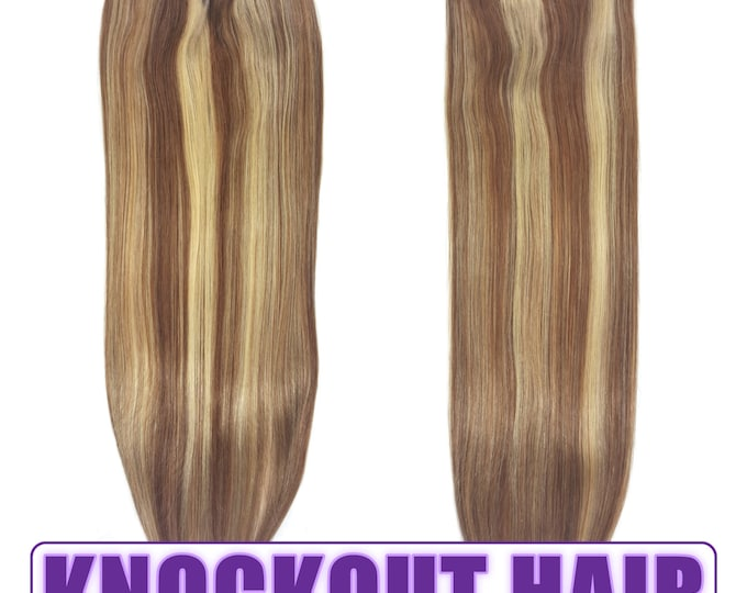 "Fits like a Halo Hair Extensions 20"" Light Natural Brown/Golden Ash Blonde (P#7A/#24) - Human No Clip In Flip In Couture by Knockout Hair"
