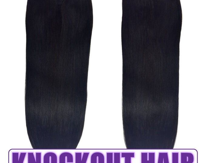 "Fits like a Halo Hair Extensions 20"" Natural Black (#1B) - Human No Clip In Flip In Couture by Knockout Hair"