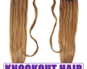 "Human Hair Ponytail Extension Wrap 20"" 80 Grams Remy Premium Grade AAAAA 100% Real Straight Silky (Light Natural Brown/Dark Blonde P#7A/7B)"