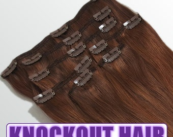 "Clip In Human Hair Extensions 18"" - 120 Grams Full Head Remy Premium Grade AAAAA Double Wefted (Dark Auburn Mix P#33/34)"