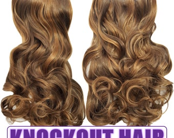 "Fits like a Halo Hair Extensions 20"" - 150 Grams 100% Premium Fiber Wavy Hair (Light Brown/Caramel P#08/27)"
