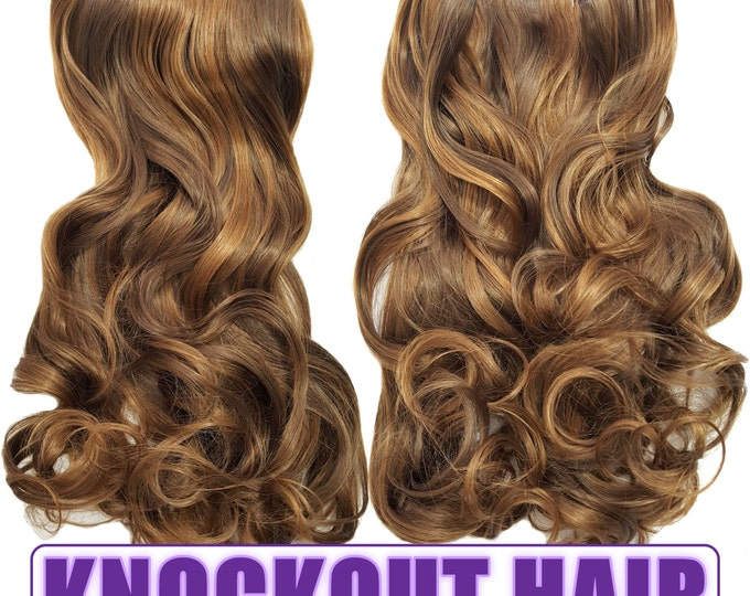 "Fits like a Halo Hair Extensions 20"" - 150 Grams 100% Premium Fiber Wavy Hair (Light Brown/Caramel P#08/27)"