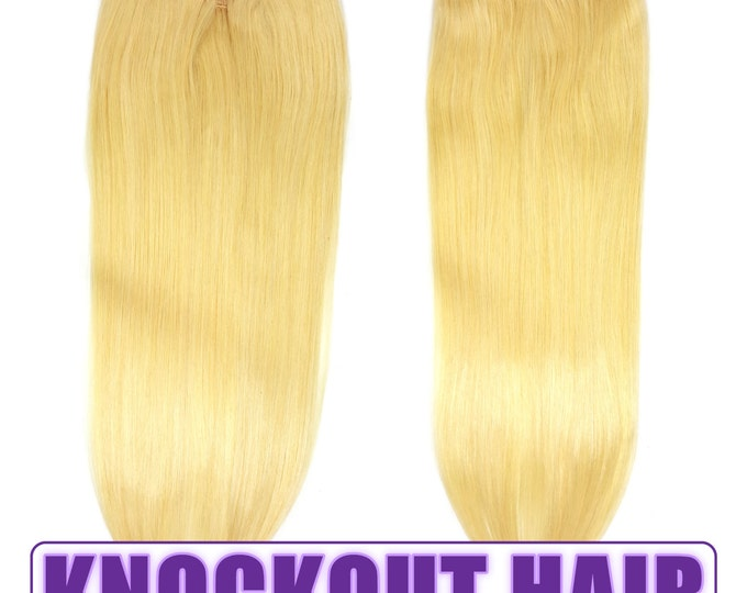 "Fits like a Halo Hair Extensions 20"" Light Blonde (#613) - Human No Clip In Flip In Couture by Knockout Hair"