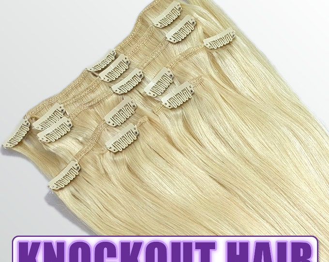 "Clip In Human Hair Extensions 18"" - 120 Grams Full Head Remy Premium Grade AAAAA Double Wefted (Lightest Blonde #60)"