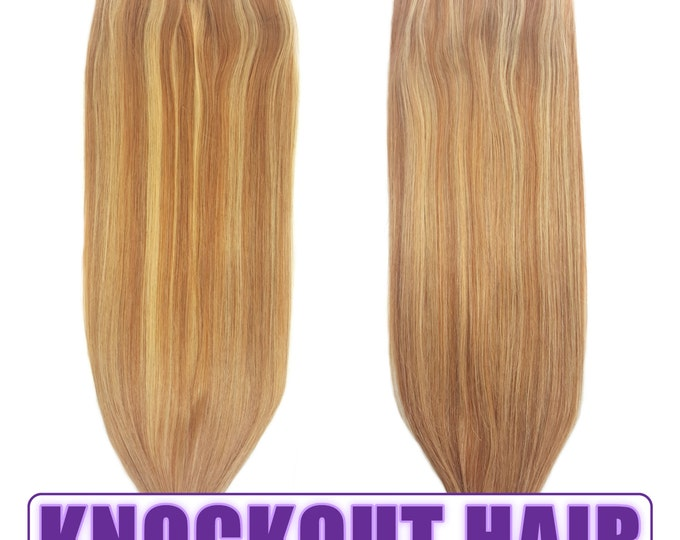"Fits like a Halo Hair Extensions 20"" Dark Warm Blonde/Honey Blonde (P#8/#22) - Human No Clip In Flip In Couture by Knockout Hair"