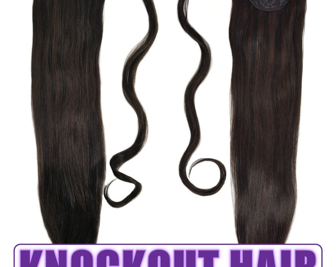 "Human Hair Ponytail Extension Wrap 20"" 80 Grams Remy Premium Grade AAAAA 100% Real Straight Hair Silky (Natural Black/Dark Brown P#1B/2)"