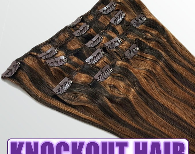 "Clip In Human Hair Extensions 18"" - 120 Grams Full Head Remy Premium Grade AAAAA Double Wefted (Dark Brown/Light Warm Brown P#2/6)"