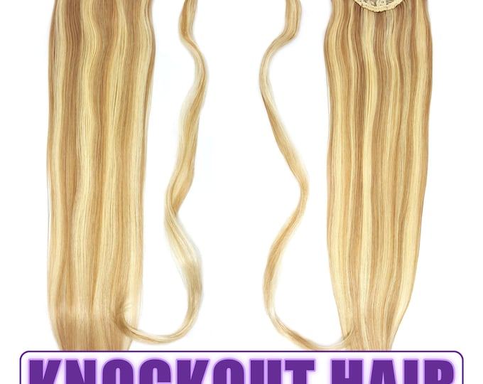 "Human Hair Ponytail Extension Wrap 20"" 80 Grams Remy Premium Grade AAAAA 100% Real Straight Silky (Dark Blonde/Light Blonde P#7B/613)"